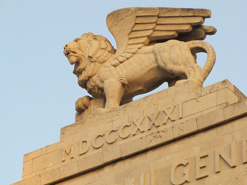 Closeup of the top of the Generali Building