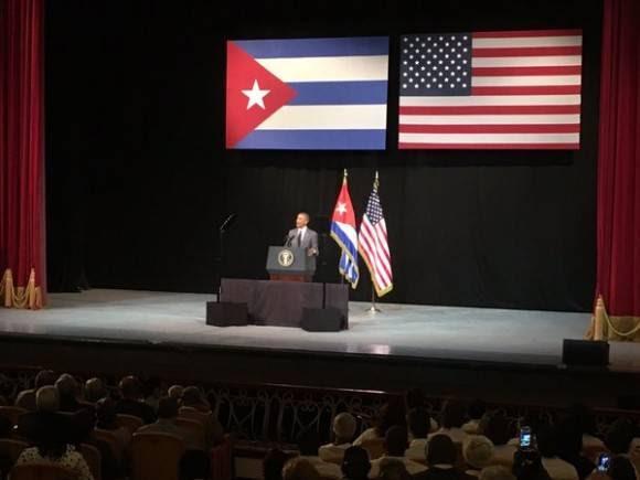 Barack Obama en el Gran Teatro de La Habana. Foto: AP