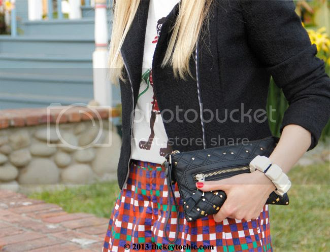 Duro Olowu for JCPenney plaid shorts, Marni at H&M T-shirt, Los Angeles fashion blog, H&M black cropped tweed blazer