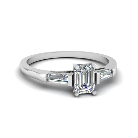 Baguette And Emerald Cut Diamond 3 Stone Engagement Ring