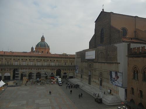 DSCN4673 _ Basilica di San Petronio (right) and Sanctuary of Santa Maria della Vita (domed building) viewed from Palazzo D'Accursio (Palazzo Comunale), Bologna, 18 October