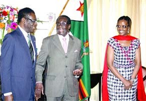Presidents Mugabe and Nguema of Zimbabwe and Equatorial Guinea along with Mai Grace Mugabe during a state visit to Harare on January 9, 2012. The African states have pledged to strengthen ties. by Pan-African News Wire File Photos