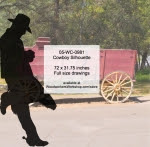 Cowboy Silhouette Yard Art Woodworking Pattern - fee plans from WoodworkersWorkshop® Online Store - leaning cowboys,ranchers,cowhands,cattleman,yard art,painting wood crafts,drawings,plywood,plywoodworking plans,woodworkers projects,workshop blueprints
