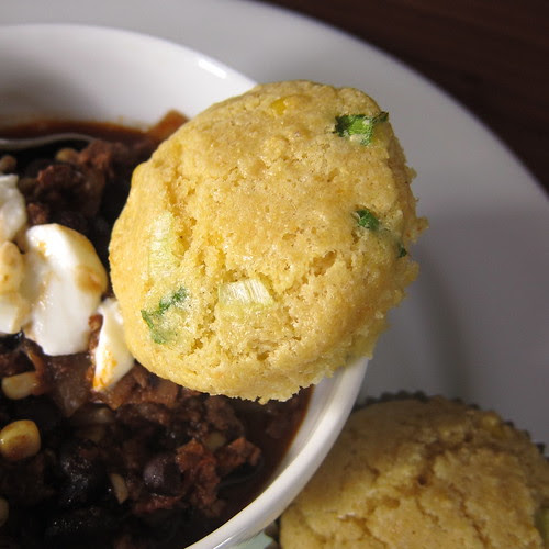 Chili with Spring Onion Corn Muffins