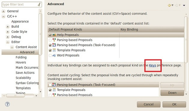Eclipse Content Assist Advanced Window