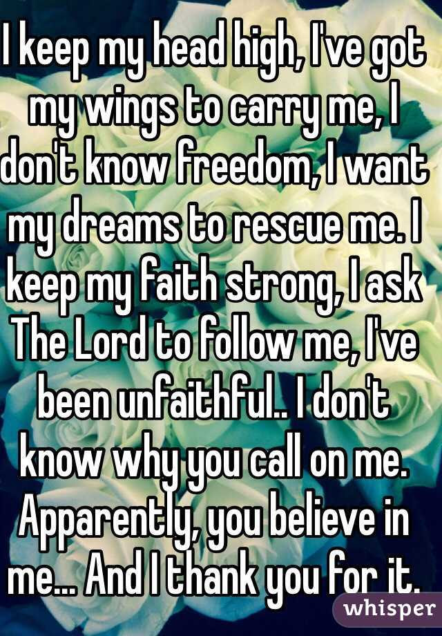 I Keep My Head High Ive Got My Wings To Carry Me I Dont Know