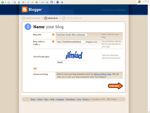 Blogger - Step 2: Name your blog