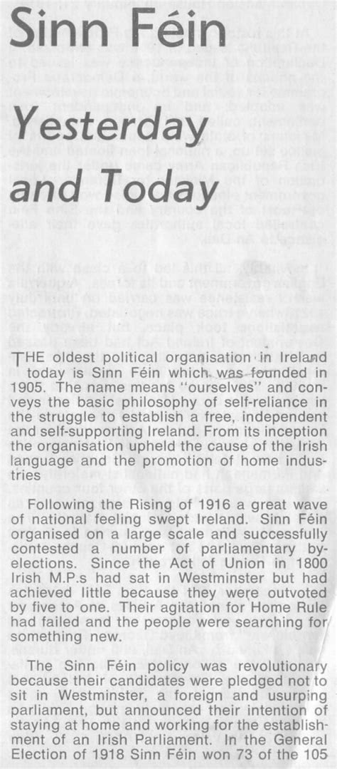 "From 1971 a leaflet ""Sinn Féin – Yesterday and Today"