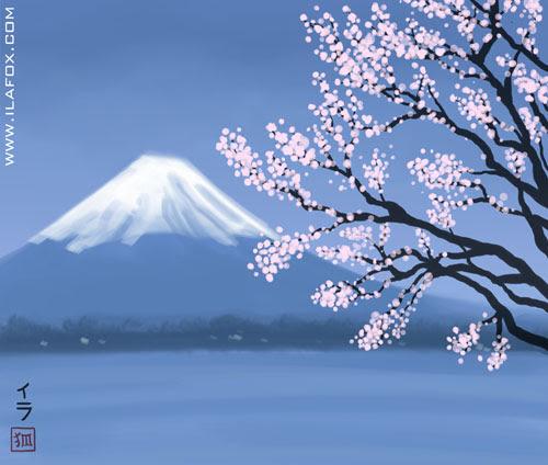 Fujisan, monte Fuji, ilustração by ila fox