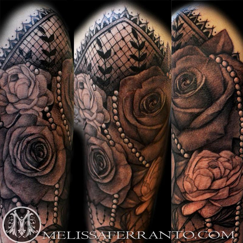 Roses Pearls And Lace Tattoo By Melissa Ferranto Tattoos