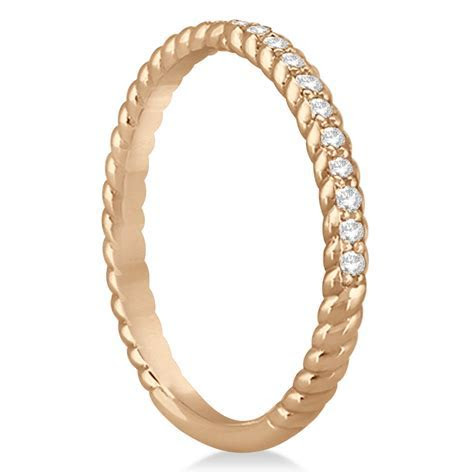 Diamond Rope Style Wedding Band 14k Rose Gold (0.21ct)   U7474