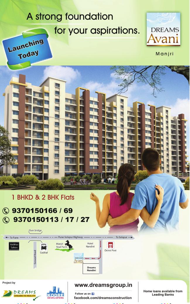 Dreams Avani, 1 BHK & 2 BHK Flats on Shewalewadi Road, near Manjri Stud Farm, off Pune Solapur Highway, at Manjri Budruk Pune, 412 307 - Launch Ad in TOI 19-5-2012