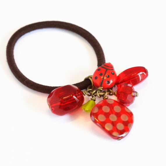 Beaded Hair Elastic - Red and Green - Great Gift