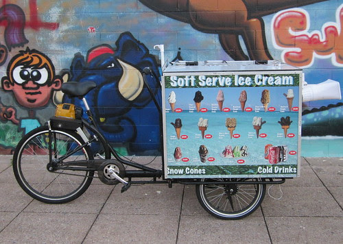 Ice-cream bike with petrol assist