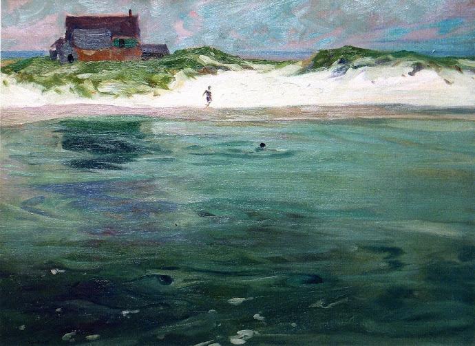 blastedheath:  Charles H. Woodbury (American, 1864-1940), Bathers, Ogunquit Beach, Maine, c.1900. Oil on canvas, 20 x 27 in.