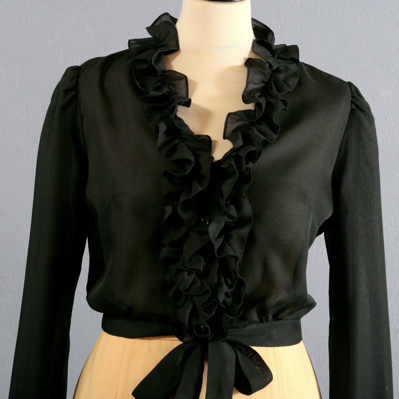 Vintage sheer BLACK RUFFLED flamenco blouse, size Medium, M