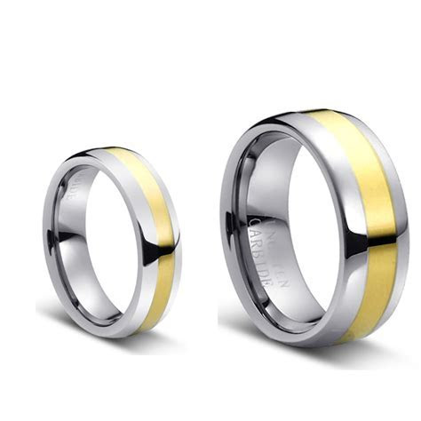 For Him & Her 8MM/6MM Tungsten CarbideTwo Tone Gold Plated