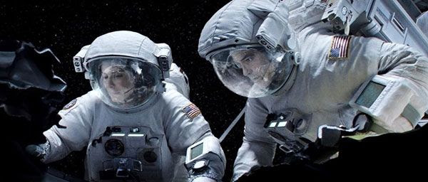 Sandra Bullock and George Clooney play two astronauts stranded in space in GRAVITY.