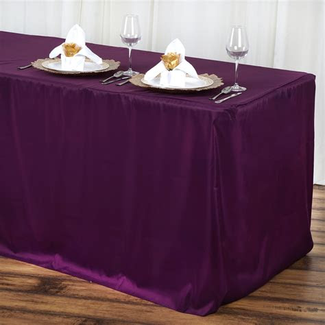 ft eggplant purple fitted polyester table cover wedding