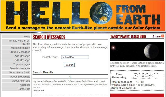 A screenshot of my message on the 'HELLO FROM EARTH' website.