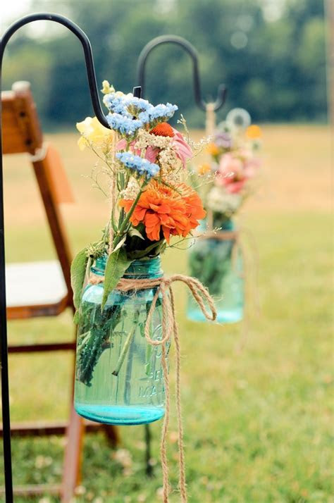 Mason Jar Aisle Markers, Wedding Ceremony Photos by Tracy