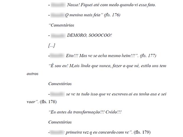 Colegas de classe criticavam biotipo de aluna em comentários em rede social (Foto: Reprodução)
