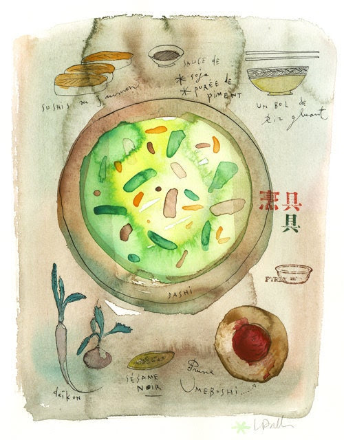 Japanese menu - Original watercolor painting - Art for kitchen - Watercolor food art