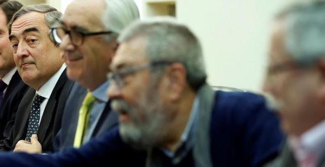 Rosell, Méndez y Toxo, en un acto celebrado en Madrid este martes. EFE/Juan Carlos Hidalgo