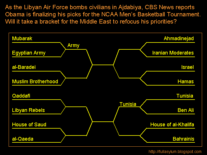 As the Libyan Air Force bombs civilians in Ajdabiya, CBS News reports Obama is finalizing his picks for the NCAA Men's Basketball Tournament.  Will it take a bracket for the Middle East to refocus his priorities?
