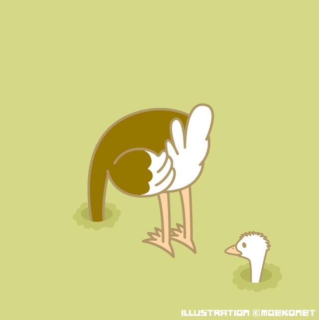 動物イラストno230ダチョウは穴に頭を突っ込む イラスト制作