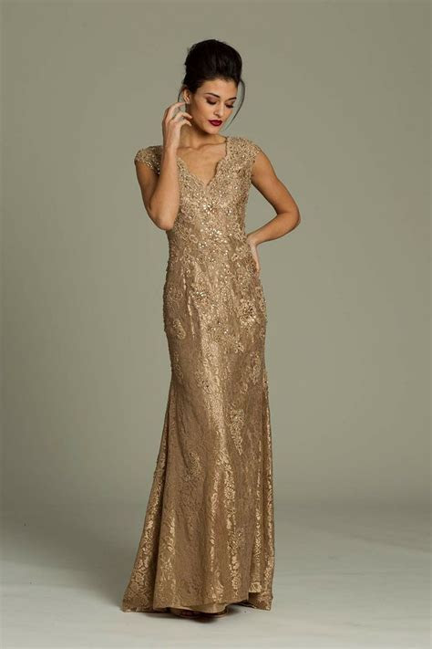 Mother of the Bride Dress   Jovani long lace gown   Gold