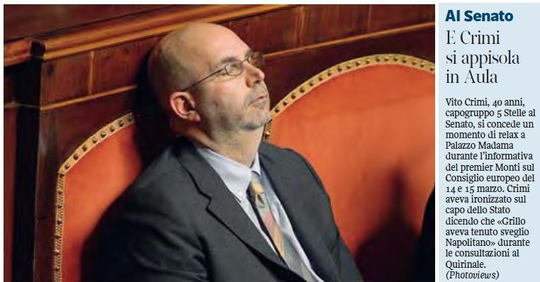 Vito Crimi: il grillino che si addormenta in aula al Senato