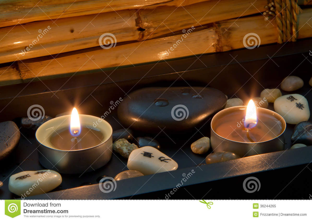 Spa Decoration In Asian Style With Stones And Candle Royalty Free ...