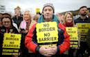 Hundreds protest against Brexit at Irish border