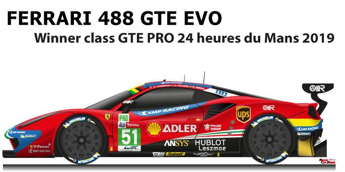 Ferrari 488 Gte Evo Winner Class Gte Pro Le Mans 2019 N51 Racing Car Draws