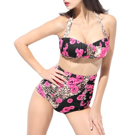Women Floral Bandeau High Waist Bikini Ruched Retro Halter Swimsuit US 8 Pink