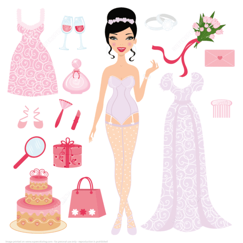 dress up bride paper doll for wedding ceremony paper craft