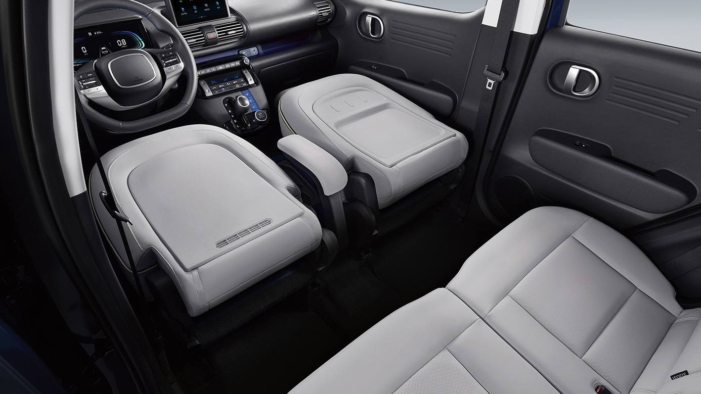 Hyundai says the Casper is the first production vehicle to feature a flat-folding first row of seats. Image: Hyundai