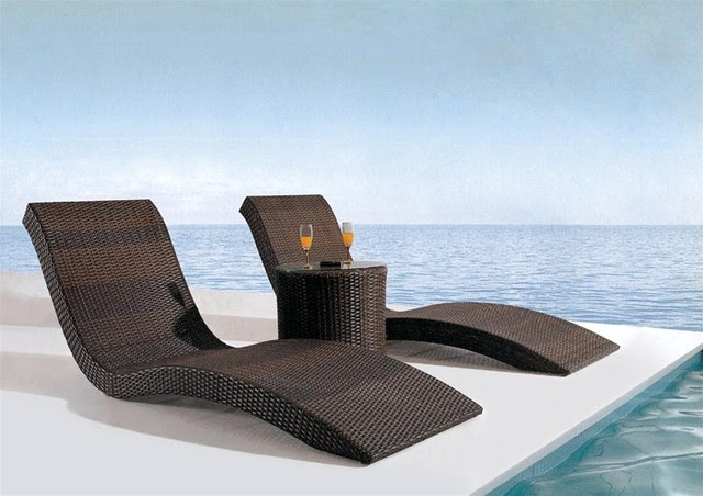 Arthen 3-Pieced Patio Lounge Set - tropical - outdoor chaise