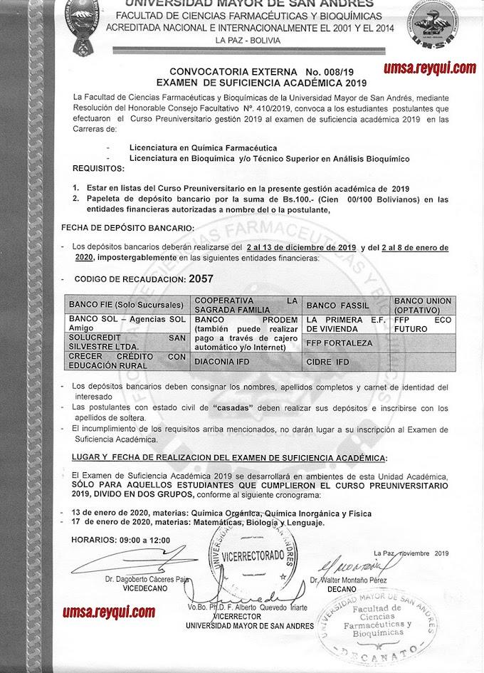 Facultad de Ciencias Farmacéuticas y Bioquímicas UMSA 2020: Convocatoria al Examen de Suficiencia Académica