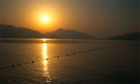 Sunset over the Mediterranean coast, Marmaris, Turkey