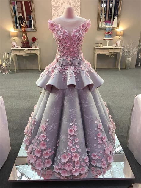 Stunning wedding dress inspired cake at Cake International