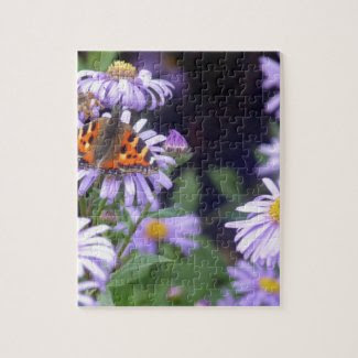 Beautiful Butterfly On Flowers Jigsaw Puzzles