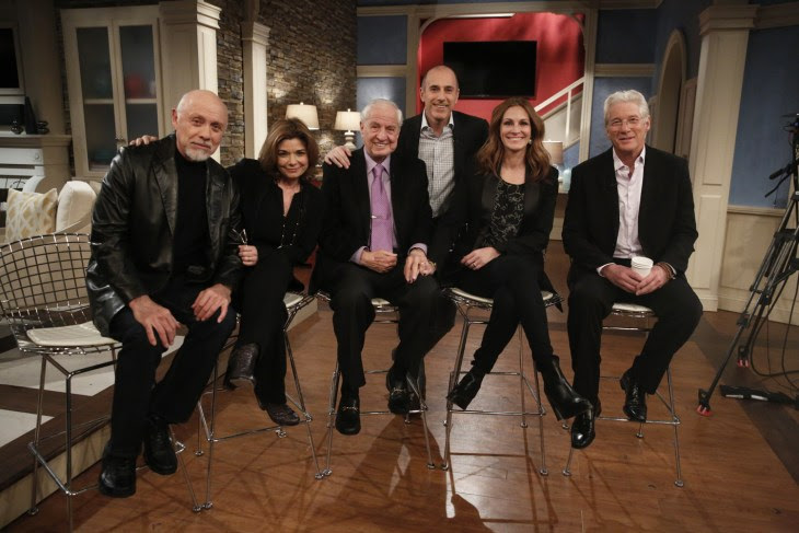 Image: The 'Pretty Woman' gang, 25 years later: Hector Elizondo, Laura San Giacomo, Garry Marshall, Julia Roberts and Richard Gere.