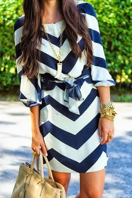 Navy  White Chevron.  Light enough fabric for summer, but sleeves and length appropriate for work