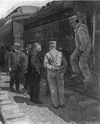 Roosevelt Talking to the Engineer of a Railroad Train