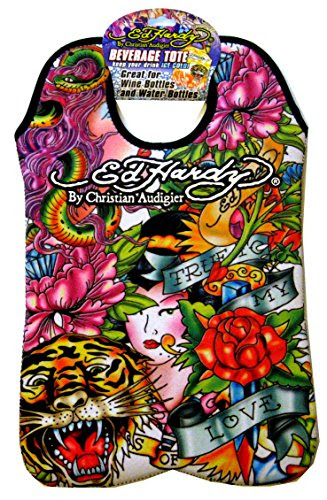 Ed Hardy Designs By Christian Audigier Neoprene Two-Bottle Wine Beverage Tote (Tattoo Tiger Geisha)