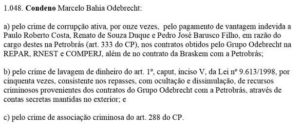 Sentença contra Marcelo Odebrecht - trecho (Foto: Reprodução)