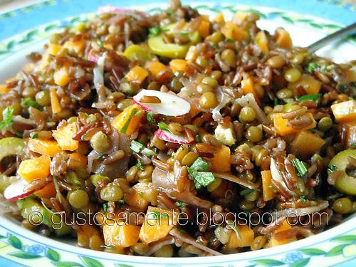Insalata di riso rosso e lenticchie