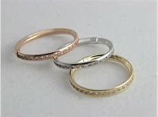 Real 14K GOLD 3mm Eternity Stackable BAND RING yellow, White, Rose Gold 14kt   eBay